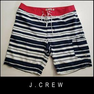 J Crew Men Flat Front Stripe Board Shorts Size 33